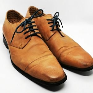 Oxford®️ Derby Shoes tan leather sz 42 laceup insole graphic men's Traditional
